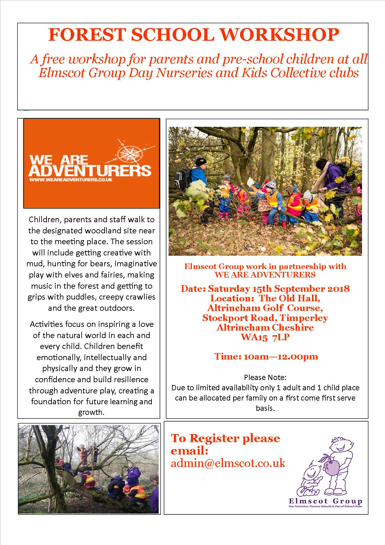 Forest School Workshop poster September 2018 - Elmscot Group