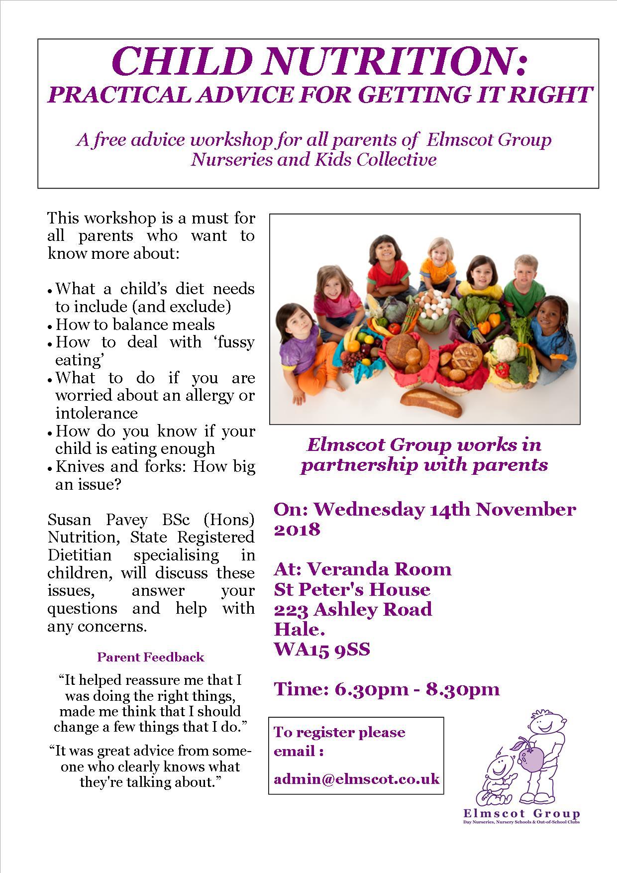 Child Nutrition poster 2018 - Elmscot Group